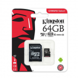 Карта памяти Kingston MicroSD Class 10 80MB/s 64Gb (с адаптером SD)
