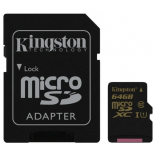 Карта памяти Kingston MicroSDHC Class10 UHS-I U1 SDCA10/64Gb (с адаптером SD)