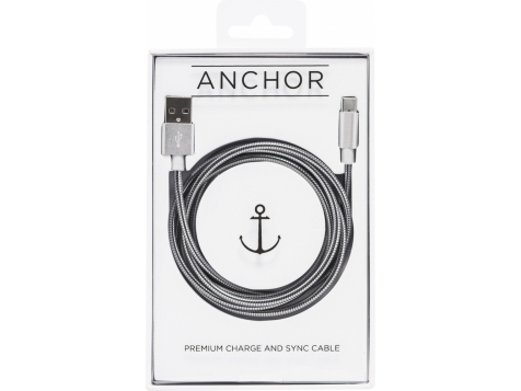 Металлический USB кабель Anchor Evercable Type-C 2.4A Retail 1.2м (Серебристый) фото 1
